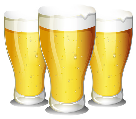 draught: Ilustration of three glasses of beer