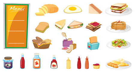 toasted: Illustration of a set of food