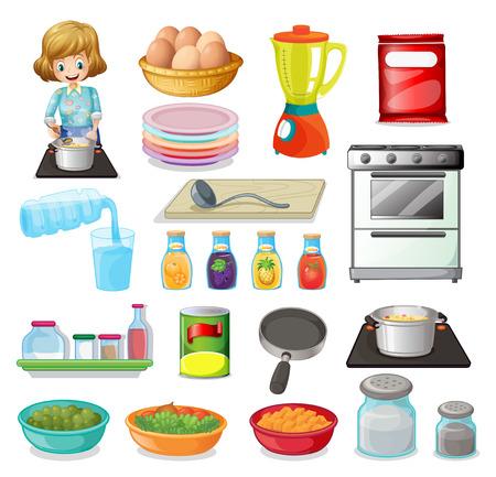zanahoria caricatura: Ilustración de un conjunto de alimentos y utensilios de cocina Vectores