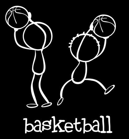 stickmen: Illustration of stickmen playing basketball Illustration