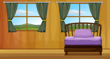 view of a comfortable bedroom: Illustration of a bedroom
