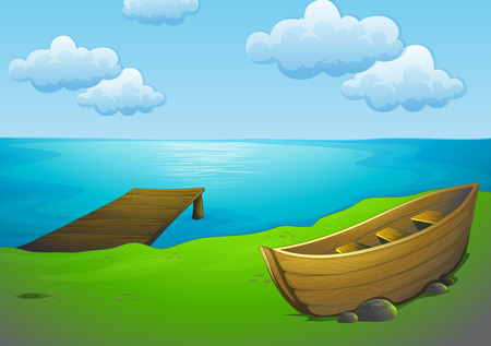 rowboat: Ilustration of a boat parking by the lake Illustration