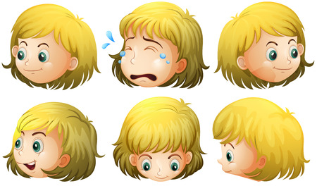 eyes looking down: Illustration of a blonde girl with many expressions Illustration