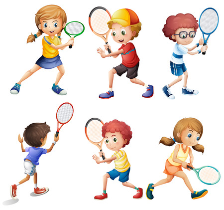 Illustration of children with different positions of playing tennis Vectores