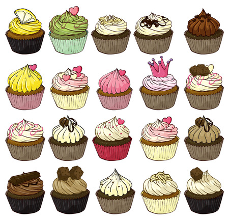 Illustration of a set of cupcakes Vector