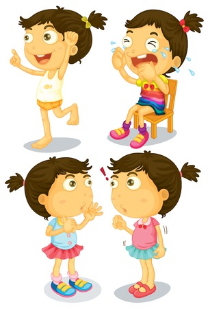 Illustration of a set of girl with many actions Vector