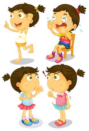 niños platicando: Ilustración de un conjunto de una chica con muchas acciones Vectores