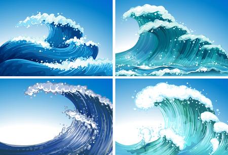 olas de mar: Ilustraci�n de diferentes ondas