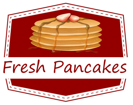 Illustration of the fresh pancakes template on a white background Vector