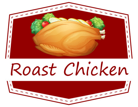 roast chicken: Illustration of a banner of roast chicken Illustration