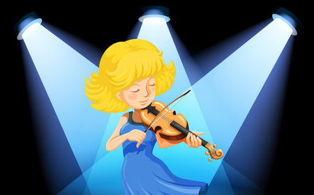 Illustration of a musician playing violin Vector