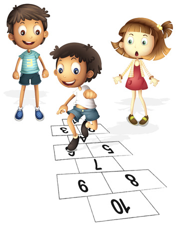 Illustration of children hopping on hopscotch Illustration