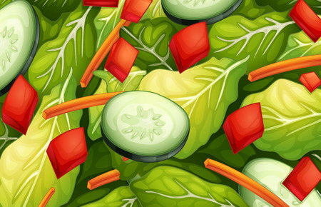 raw material: Ilustration of a closeup salad Illustration