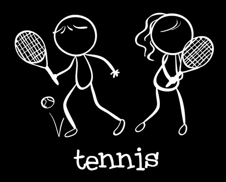 stickmen: Illustration of stickmen playing tennis