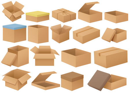 Ilustration of a set of different cardboard boxes Illustration