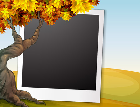 Illustration of a photo frame with autumn background Vector