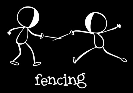 freetime: Illustration of stickmen fencing Illustration