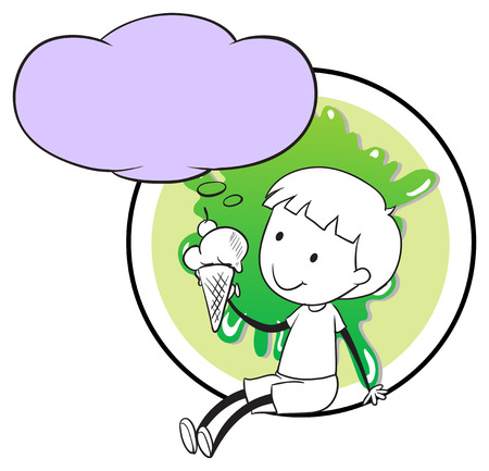 Illustration of a boy with icecream thinking Vector