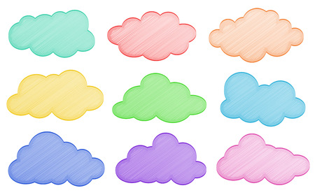 fluffy clouds: Ilustration of different colors of clouds