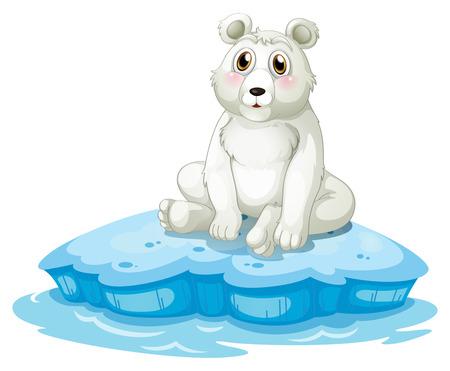 northpole: Illustratie van een ijsbeer boven de ijsberg op een witte achtergrond Stock Illustratie