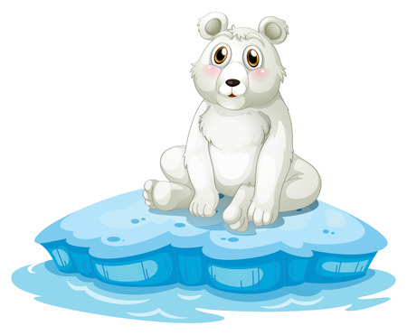Illustration of a polar bear above the iceberg on a white background