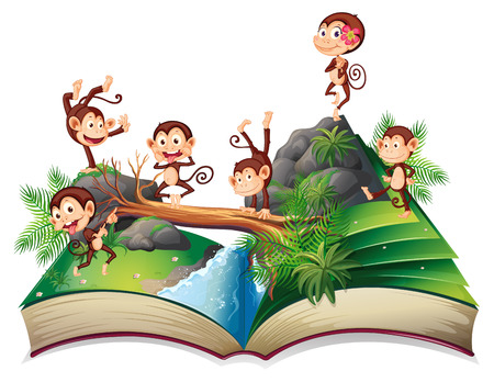 Illustration of a book of monkeys in the jungle Vector