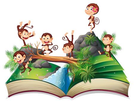 chimpances: Ilustración de un libro de monos en la selva Vectores