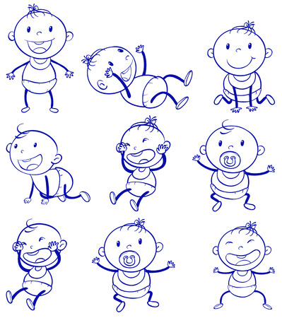 crawling: Illustration of a set of a baby with different actions
