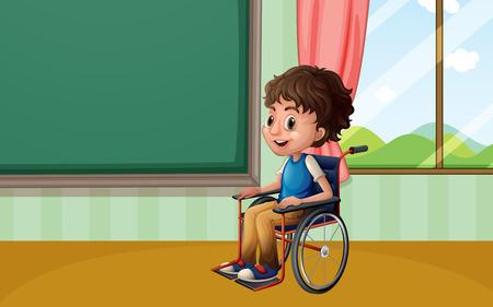 Illustration of a boy on a wheelchair Vector