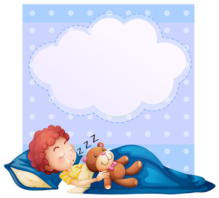 pattern bed: Ilustration of a banner with a boy sleeping