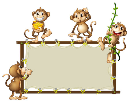 Illustration of an empty banner with monkeys on a white background Vector
