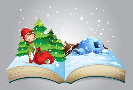 クリスマスの本のイラスト