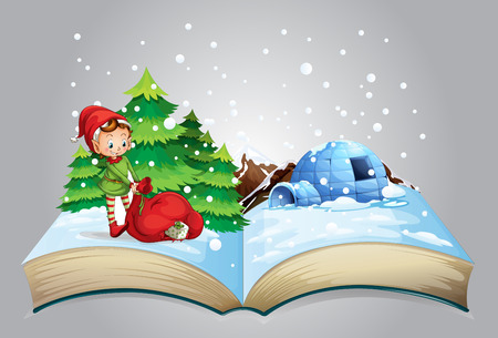 book bags: Illustration of a book of christmas