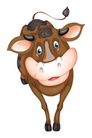 mamal: Ilustration of a brown cow Illustration