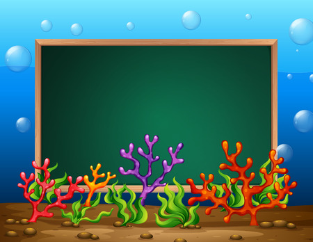 seaweeds: Illustration of a banner of an underwater background