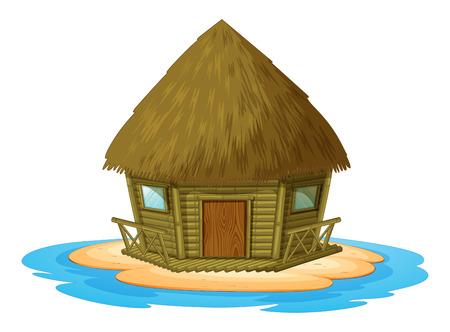 desert scenes: Illustration of a bungalow on a desert island Illustration