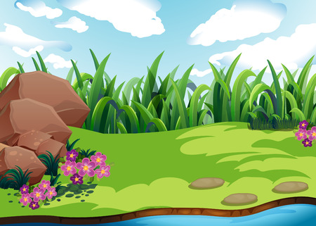 tranquil scene: Illustration of a plain with grass Illustration