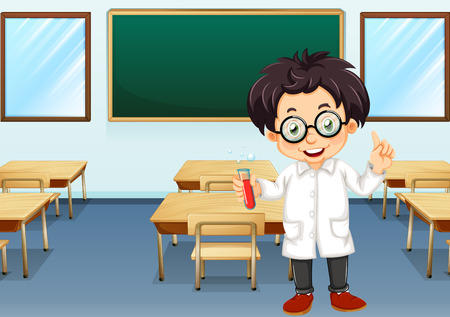 writing chair: Ilustration of a scientist in a classroom