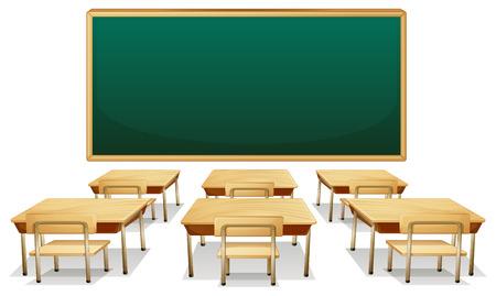 Illustratie van een leeg klaslokaal Stock Illustratie