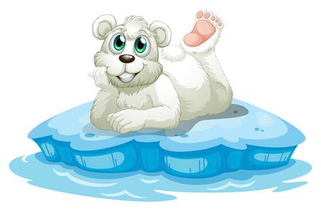northpole: Illustratie van een gelukkige beer boven de ijsberg op een witte achtergrond Stock Illustratie