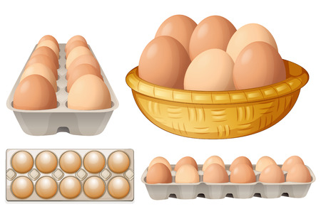 breakfast eggs: Illustration of eggs in different containers
