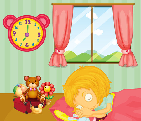 Illustration of a young girl sleeping soundly in her bedroom Vector