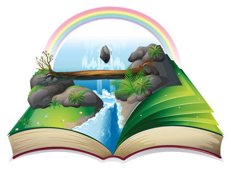 popup: Illustration of a popup waterfall book Illustration