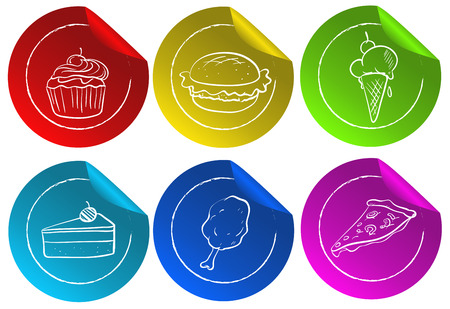 Illustration of fastfood stickers