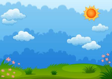 grass sky: Ilustration of a view of a green field Illustration