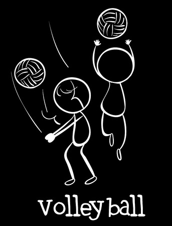 controling: Illustration of stickmen playing volleyball Illustration