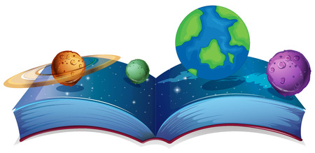 popup: Illustration of a book of solar system