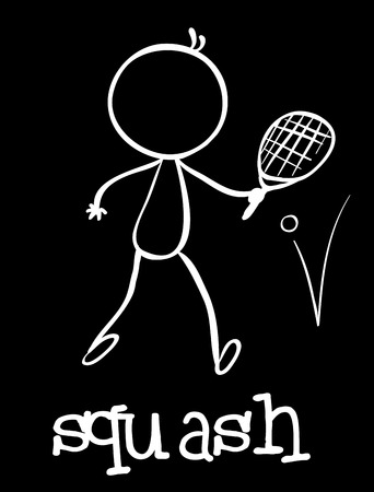 Illustration of a stickman playing squash Vector