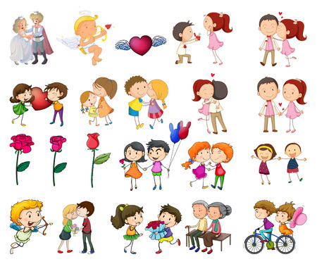 love pictures: Illustration of a set of couples with many actions Illustration