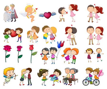 besos hombres: Ilustración de un conjunto de parejas con muchas acciones